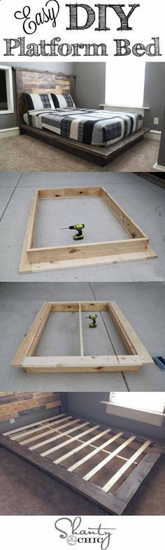 Easy DIY Platform Bed | Creative Pieces Of Wood For A New Bedroom With A Storage by DIY Ready at http://diyready.com/14-diy-platform-beds/