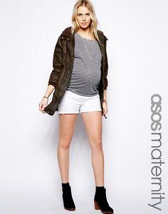 Super cute maternity denim white shorts for those hot days.