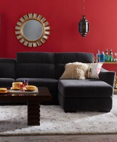 Alessandro Fabric 5 Piece Chaise Sectional Sofa with 1 Power Motion Recliner - Furniture - Macy's