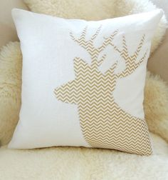 Metallic Deer Pillow Cover Gold Chevron & Ivory by VixenGoods