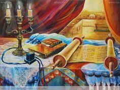 Still life with a Torah scroll by Victor Peled now featured on ArtDealer Arte Judaica, Messianic Judaism, Prophetic Art, Jewish Art, Menorah, Still Life, History, Artist, Israel
