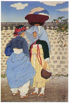 (Korea) A morning gossip, Hamheung province, 1921 by Elizabeth Keith (Scotland, woodblock print. Korean Art, Asian Art, Korean Traditional, Traditional Art, Buddha Birthday, Illustrator, Korean Painting, Korean Design, Art Asiatique