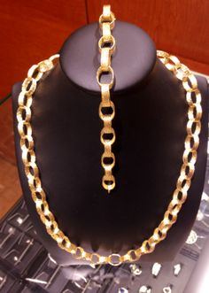 14KT Yellow Gold Necklace and Bracelet. Rolled links. #FMJ #Gold #ChicagoJewelry #Fashion