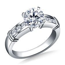 Round Diamond Ring with Channel Set Sidestone Accents in 18K White Gold http://balori.com/pins/3102