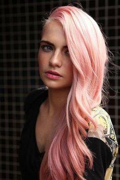 long wavy Pale warm pink hair