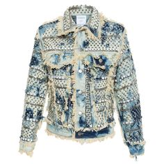Ashish Studded Denim Jacket ($965) ❤ liked on Polyvore featuring outerwear, jackets, denim, coats, jean jacket, studded jacket, acid wash denim jacket, ashish and studded denim jacket