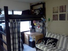 Dorm room decor. Loft with curtain for decoration and privacy