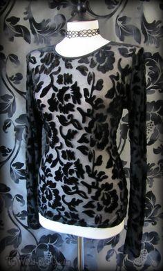 Elegant Goth Black Velvet Devore Sheer Flock Top 12 14 16 Victorian Gothic   THE WILTED ROSE GARDEN on eBay // Worldwide Shipping Available