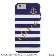 Classic Navy And White Stripes Name Anchor Tough iPhone 6 Plus Case
