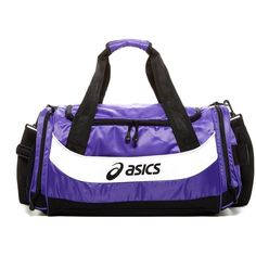 ASICS Edge Small Duffle ($30) ❤ liked on Polyvore featuring bags, purple, handle bag, duffel bags, white duffle bag, white bags and strap bag