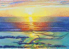 Newport Sunset Giclee Print Pastel Painting by maitlandartprints
