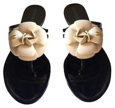 db492107b Black New W Box Jelly Beige Camellia Cc Thong Rubber Flip Flops (36) Sandals