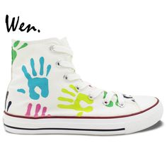 Aliexpress.com : Buy Wen Original Design Custom Hand Painted Shoes Colorful Palm Prints Men Women's High Top Canvas Sneakers Birthday Gifts from Reliable high canvas sneakers suppliers on WEN Official Store