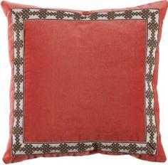 #05 Coral Velvet w/ Amalfi Chocolate Tape Pillow