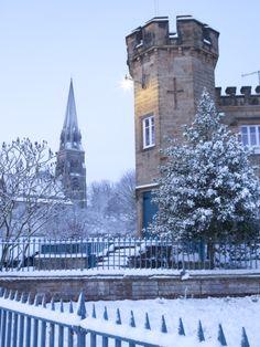 Edensor Village and Church in winter, Chatsworth Estate, Derbyshire, England, United Kingdom, Europe