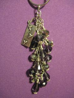 Purple and Silver Crystal Glass Bead Purse Charm Key Chain with Heart Charm #FoxyFunDangles