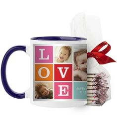 Love Mug, Blue, with Ghirardelli Peppermint Bark, 11 oz, Pink