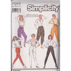 Misses Slim Pants, Draped Pants And Zouave Pants...Slim Pants Sized For Stretch Knits Only Simplicity Sewing Pattern 7069 (Size A: PT-XL)