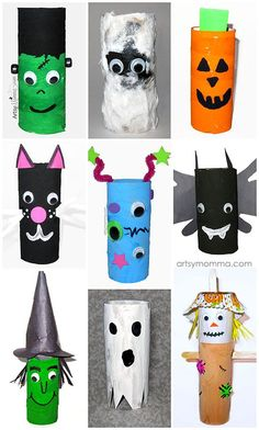 Toilet Paper Roll Halloween Characters - Halloween crafts for kids to make. Kids art project for halloween. Witch, ghost, vampire, frankenstein etc. Halloween Crafts For Kids To Make, Mummy Crafts, Halloween Activities, Halloween Themes, Halloween Diy, Kid Crafts, Toddler Crafts, Preschool Crafts, Fall Crafts