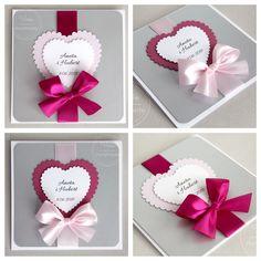 Zaproszenia ślubne fuksja i róż Wedding Invitations, Weddings, My Style, Cards, Handmade, Mother In Law, Wedding, Handmade Cards, Presents