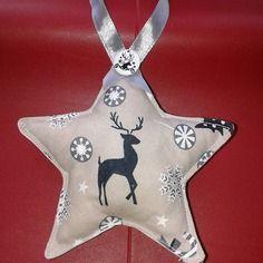 Lot de 5 étoiles de noël - cerf - gris, beige, noir, blanc