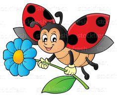 Joaninha · flor · imagem · natureza · arte - ilustração de vetor © Klara Viskova (clairev) (#8906171) | Stockfresh Easy Canvas Painting, Fabric Painting, Kids Art Class, Art For Kids, Bee Coloring Pages, Ladybug Art, Mickey Mouse Wallpaper, Rock Painting Patterns, Clay Pot Crafts