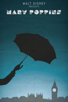 Mary Poppins (1964) - Minimal Movie Poster by Jean-Joseph Renucci #marypoppins