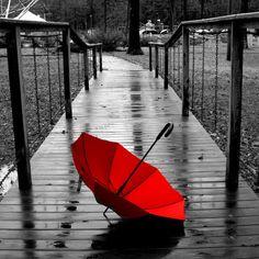 red umbrella on rainy B dock