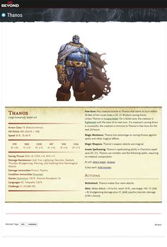 Thanos & Infinity Gauntlet/Stones D&D 5E - Album on Imgur Dungeons And Dragons Classes, Dungeons And Dragons Characters, Dungeons And Dragons Homebrew, Dnd Characters, Marvel Rpg, Dnd Stats, Thanos Infinity Gauntlet, Dnd Classes, Dnd 5e Homebrew