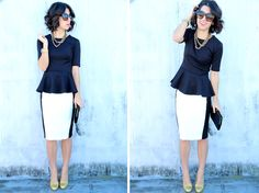 love everything about this. the peplum shirt, the skirt, the SHOES.