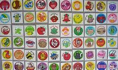 Scratch and Sniff stickers!  I loved these.  I had many, if not all, of these in my childhood 80s sticker book.  I can vividly remember the scents- pickles, car exhaust, grapes, pizza, bananas.  Oh man, they're probably toxic.  Such great memories!