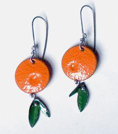 "'Orange Earrings' in sterling silver and enamel on copper. Approx. 2.25"" in length. angela gerhard"