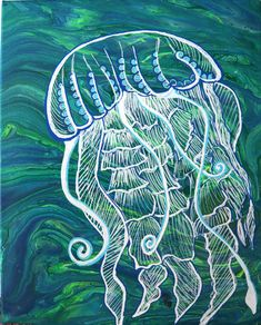 Acrylic Paint Pouring with Kiss technique on two canvases and I draw a jellyfish. Umbrella Jellyfish, Jellyfish Drawing, Jellyfish Painting, Jellyfish Aquarium, Blue Jellyfish, Spongebob, Crocheted Jellyfish, Jellyfish Decorations, Blue Anime