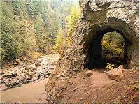 hike/ old, abandoned railroad tunnel on the Robe Canyon Historic Trail