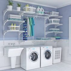 small laundry room organization ideas Double the Function - Room Design Laundry Room Shelves, Basement Laundry, Small Laundry Rooms, Laundry Closet, Laundry Room Organization, Laundry Room Design, Bathroom Closet, Tiny Closet, Laundry Area