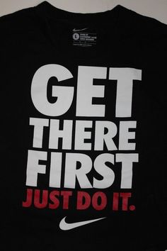 Nike Mens Loose Fit Get There First Just Do It T Shirt Size Large Black EUC #Nike #GraphicTee