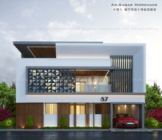 Architect Design House, Duplex House Design, Modern Family House, Pooja Room Door Design, Pooja Rooms, Front Elevation, Facade House, Contemporary Architecture, Entrance
