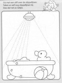 * Teken de waterstralen...