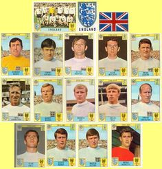 Panini stickers 1970 FIFA World Cup Mexico - England squad. Do I ever remember this squad.