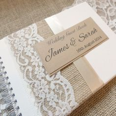 Hessian or Burlap and Lace Wedding Guest Book - Rustic Charm, perfect for Country Wedding Wedding Album, Wedding Book, Wedding Cards, Our Wedding, Dream Wedding, Wedding Invitations, Wedding Ideas, Lace Wedding, Rustic Wedding Guest Book
