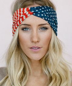 Red, White, and Blue American Flag Head Wrap