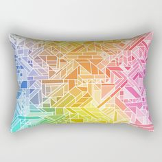 "Our Rectangular Pillow is the ultimate decorative accent to any room. Made from 100% spun polyester poplin fabric, these ""lumbar"" pillows feature a double-sided print Bright Gradient (Hot Pink Orange Green Yellow Blue) Geometric Pattern Print geometric geometry geometric-pattern pattern pretty cool neon outline vector eye-catching focal-point graphic-design multi-colored colors striking cool awesome unique happy happiness positive girl modern trending trend vibrant rainbow hot pink orange"