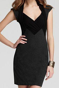abaday V-neck Color Block Pleated Black Bodycon Dress - Fashion Clothing, Latest Street Fashion At Abaday.com