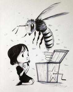 #ink #inktober #inktober2016 #drawing #KurtChangArt #art #illustration #lighting #jackinthebox #bee #girl #insect