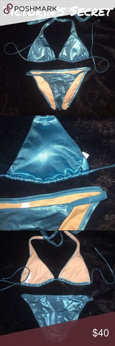 NWOT Victoria's Secret Bikini - Sz S - Retail $97 NWOT Victoria's Secret metallic blue bikini. Lined. Excellent condition. Never worn. Top ties at neck and back. Removable pads. Size Small. Retail $97.   ✅Always Authentic✅ ⬇️Bundle & Get 10% Off & Save on Shipping⬇️ ❌Trades❌PayPal❌ Victoria's Secret Swim Bikinis