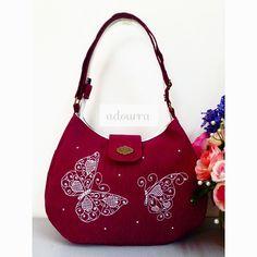 Adorable Handmade Bags Maroon Emma Handbag With Embroidery And Rhinestone Very Nice