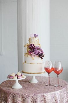 Gold and Purple Wedding Cake | photography by http://www.jacquelynnphoto.com/