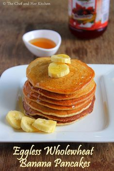Pancakes are quick to make as they do not need any fermentation and also they can be prepared instantly. Pancakes are usually make with . Eggless Banana Pancakes, Eggless Pancake Recipe, Pancake Recipes, Snack Recipes, Snacks, Peach Smoothie Recipes, Breakfast Smoothie Recipes, Banana Breakfast, Smoothies
