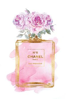 Chanel print Pink roses watercolor with gold by hellomrmoon Illustration Mode, Illustrations, Mode Poster, Chanel Poster, Motif Art Deco, Arte Fashion, Chanel No 5, Vintage Diy, Pink Roses