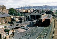 View of the turntable and Midland shed at Bath Green Park, just 2 days after the cessation of the use of S & D as a through route. Locos visible are (l to r) Diesel Locomotive, Steam Locomotive, Steam Trains Uk, Old Train Station, Disused Stations, Holland, Steam Railway, Southern Railways, British Rail